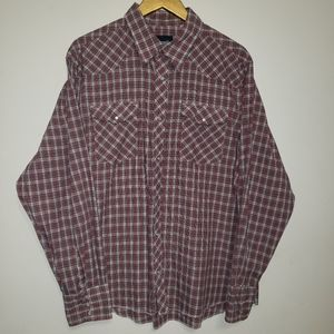 WRANGLER Western Red Plaid Pearl Snap Button Up